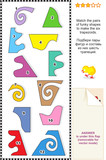 Visual math puzzle: Match pairs of shapes to make 6 trapezoids poster