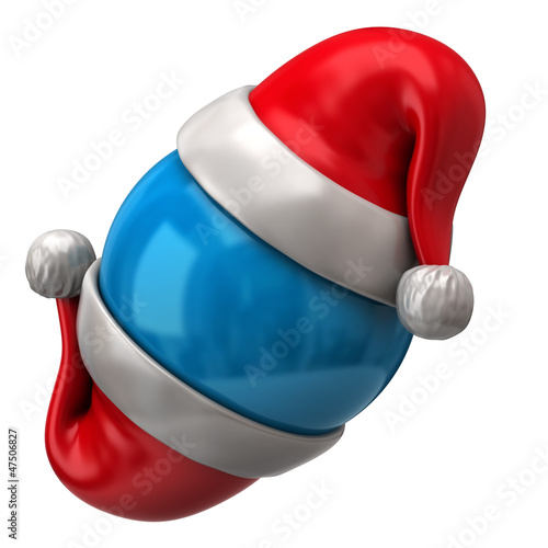 Two Santa Claus red hats and sphere