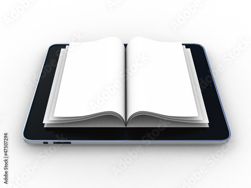 Business paper on tablet. Mobile device concepts 3D. isolated on