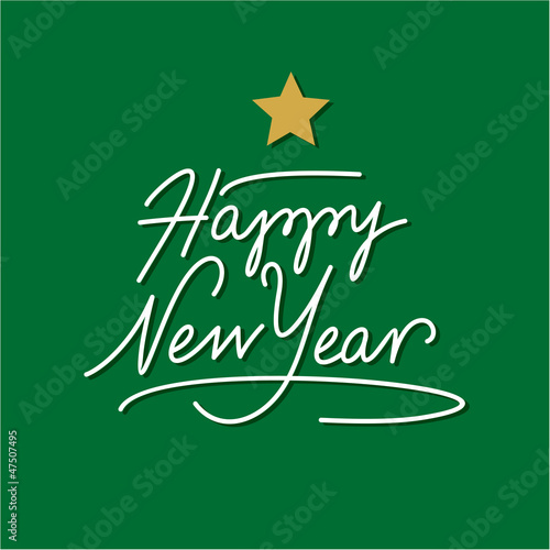 happy new year hand lettering with gold star