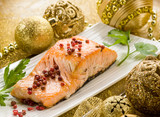 Fototapety grilled salmon with pink pepper on christmas table