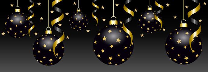 Bannière de boules de Noël en noir et or
