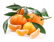 Tangerines with green leaves on white background