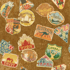 Vintage travel labels  seamless pattern