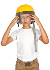 Boy with yellow helmet