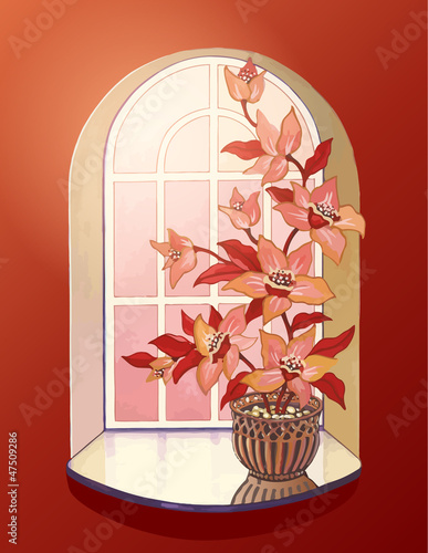 Illustration flower in flowerpot at window