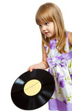 Little girl with vinyle record poster