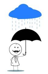 businessman umbrella rain