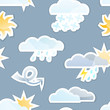 Seamless Weather Sticker Icon Background Tile. Vector  EPS10