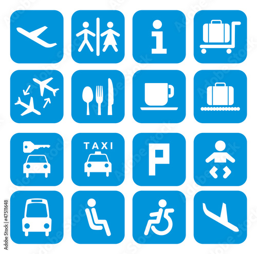 Airport icons - pictogram set