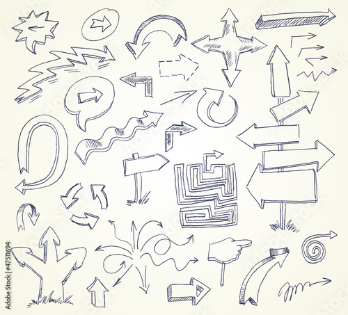 Arrow Doodles. Hand-drawn. Vector illustration