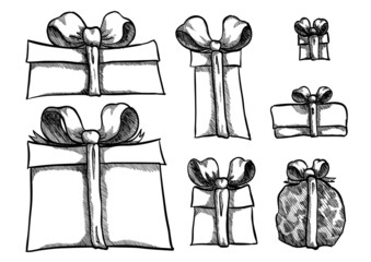 Vector sketch of present boxes in many styles