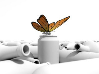 Butterfly on a can in a dump