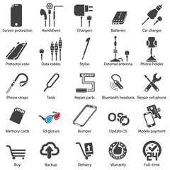 set Mobile servise web icons