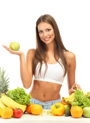 beautiful young woman with fruits and vegetables, isolated