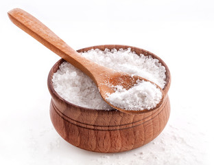 Sea Salt in a spoon and bowl isolated on white background