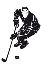 hockey player, silhouette