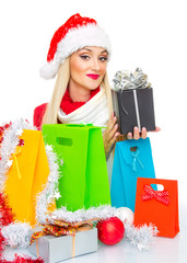 Santa claus woman with shopping bags, isolated on white