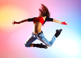 Fototapety Young woman dancer jumping