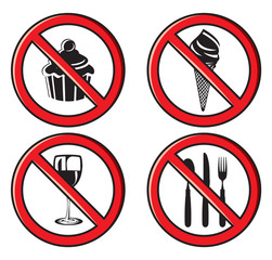 no eating, no food allowed sign set