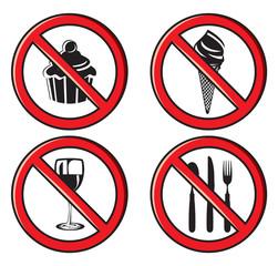 no eating, no food allowed sign set