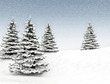 Winter background christmas tree and snow