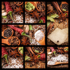 Spices on wooden table with spoons on white background