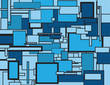 Abstract blue rectangles of various shaves and sizes