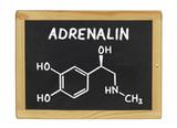 chemische Strukturformel von Adrenalin auf einer Schiefertafel poster