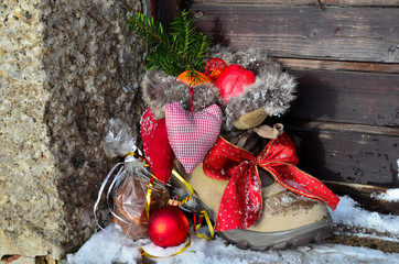 Nikolausstiefel im Schnee Schuhe Weihnachten