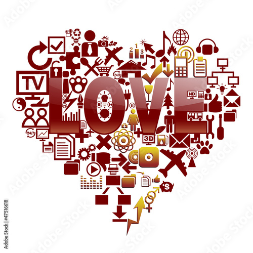 Various symbols composed of heart-shaped pattern