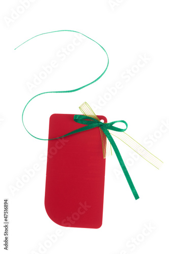 Red gift tag with green ribbon