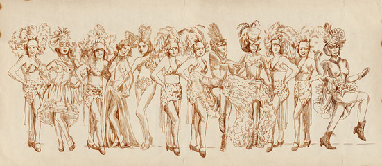 Cancan dancers - Retro image with lots of show girls