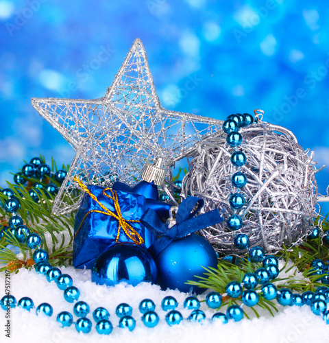 Christmas decoration on blue background
