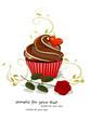 Grußkarte Muffin, Cupcake mit Rose