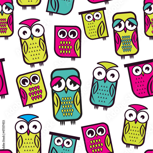 Seamless owl pattern - 47517453