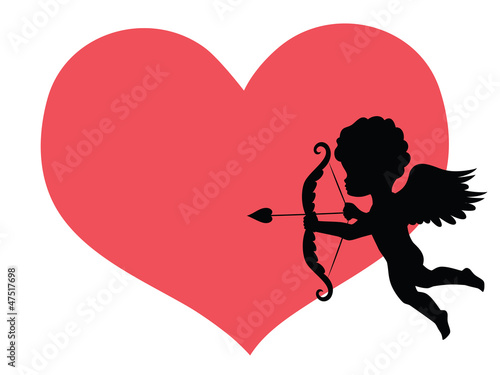 Silhouette of a cupid and a big red heart on the background.