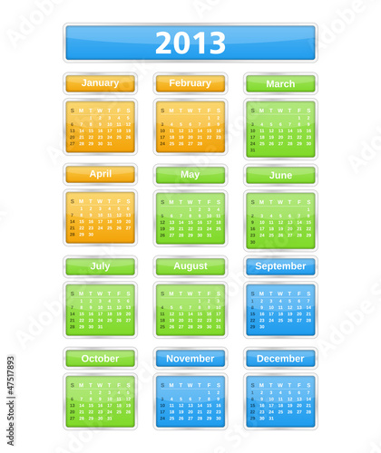 2013 Calendar, vector eps10 illustration