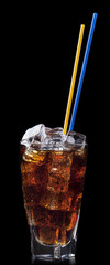 Fresh cola drink background with ice