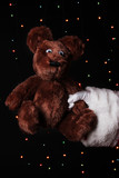 Santa Claus hand holding toy bear on bright background
