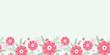 Vector peony flowers and leaves elegant horizontal seamless