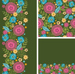 Vector set of vibrant summer plants seamless pattern and borders