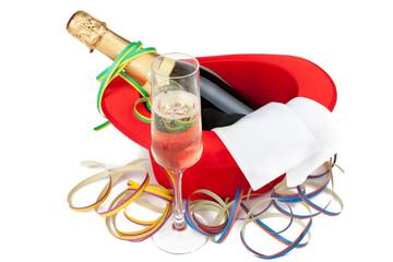 Roter Zylinder mit Champagner