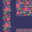 Vector set of summer night plants seamless pattern and borders