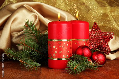 Two candles and christmas decorations,