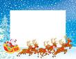 Christmas Border with Sleigh of Santa Claus