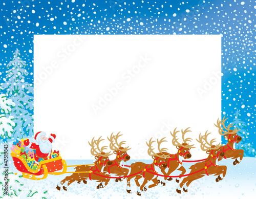 Christmas Border with Sleigh of Santa Claus