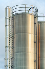 Industrial silos at a plastic manufacturing facility
