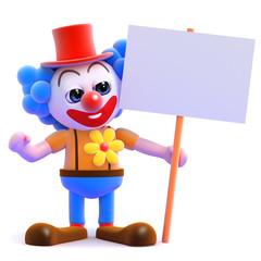 Clown with blank placard