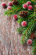 Rustic christmas decoration with spruce twigs and cones